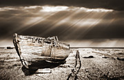 Mono Framed Prints - Fishing Boat Graveyard 9 Framed Print by Meirion Matthias
