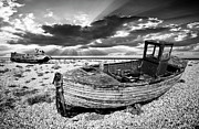 Mono Framed Prints - Fishing Boat Graveyard Framed Print by Meirion Matthias