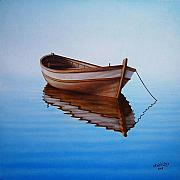 Blue White Prints - Fishing Boat I Print by Horacio Cardozo