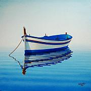 Blue White Prints - Fishing Boat II Print by Horacio Cardozo