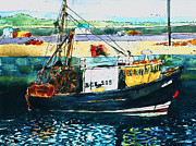 Fishing Boat Drawings Framed Prints - Fishing Boat in Scotland Framed Print by Myra  Gallicker