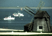 Chatham Posters - Fishing boats and windmill in Chatham on Cape Cod Massachusetts Poster by Matt Suess