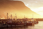 Daybreak Photo Acrylic Prints - Fishing Boats at Dawn Kalk Bay South Africa Acrylic Print by Neil Overy