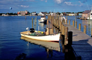 Boats At Dock Photo Posters - Fishing boats at dock Ocracoke Village Poster by Thomas R Fletcher