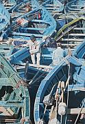Essaouira Paintings - Fishing Boats at Essaouira No.2 by Brian Fleming