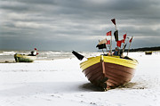 Heavy Weather Prints - Fishing Boats At Snowy Beach Print by Agnieszka Kubica