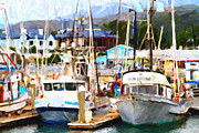 Towns Digital Art Framed Prints - Fishing Boats at the Dock . 7D8213 Framed Print by Wingsdomain Art and Photography
