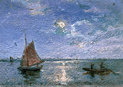 Fishing Boat Reflection Posters - Fishing Boats by Moonlight Poster by Alfred Wahlberg
