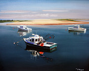 Fishing Boats Paintings - Fishing Boats-cape Cod by Paul Walsh