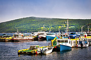 Lobster Traps Framed Prints - Fishing boats in Newfoundland Framed Print by Elena Elisseeva