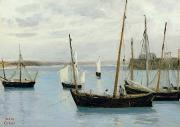 Yacht Paintings - Fishing Boats by Jean Baptiste Camille Corot