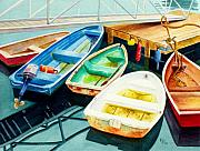 Maine Painting Posters - Fishing Boats Poster by Karen Fleschler