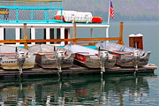 Lake Mcdonald Prints - Fishing Boats Print by Karon Melillo DeVega
