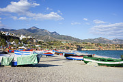Holiday Destination Prints - Fishing Boats on a Beach in Spain Print by Artur Bogacki