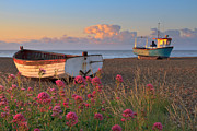 Aldeburgh Prints - Fishing Boats On Beach At Sunrise Print by Justin Minns