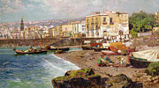 Port Town Paintings - Fishing Boats on the Beach at Marinella Naples by Carlo Brancaccio