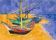 Fishing Boats Posters - Fishing Boats on the Beach at Saintes Maries de la Mer Poster by Vincent Van Gogh