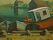 Printed Painting Posters - Fishing Boats Peggys Cove NS Poster by Chris Riley