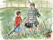 People Drawings - Fishing Buddies by Arlene  Wright-Correll