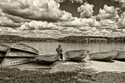 Fishing Creek Photo Framed Prints - Fishing by the Boats 2 Framed Print by Jack Paolini