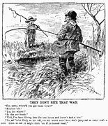 Fishing Creek Posters - Fishing Cartoon, 1888 Poster by Granger