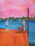 South Beach Paintings - Fishing circa 1975 by Meg Goff