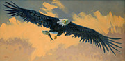 American Bald Eagle Painting Prints - Fishing Eagle Print by Donald Maier