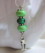 Ball Jewelry - Fishing for Green  Necklace by Janet  Telander