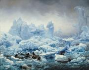 Snow Landscapes Paintings - Fishing for Walrus in the Arctic Ocean by Francois Auguste Biard