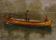 Fly Fishing Painting Posters - Fishing from a Canoe Poster by Albert Bierstadt