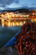 Sao Miguel Framed Prints - Fishing harbour at dusk Framed Print by Gaspar Avila