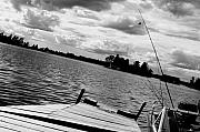 Summer Scene Prints - Fishing in Black and White Print by Emily Stauring