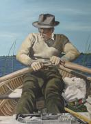 P.r. Paintings - Fishing in the Gene Pool by Peggy Selander