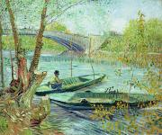 Fishing Painting Posters - Fishing in the Spring Poster by Vincent Van Gogh