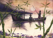 Thailand Paintings - Fishing In The Sunset   by Alban Dizdari