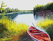 Canoe Painting Posters - Fishing Lake Poster by Pauline Ross