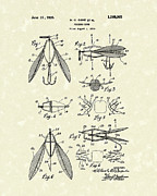 Sports Art Drawings Metal Prints - Fishing Lure 1926 Patent Art  Metal Print by Prior Art Design