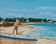 Fishing Shack Paintings - Fishing Man by Liz Zahara