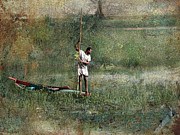 Canoe Digital Art - Fishing on the Nile by Bjorn Borge-Lunde