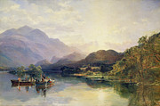 Bank; Clouds; Hills  Prints - Fishing Party at Loch Achray with a View of Ben Venue Beyond Print by Samuel Bough