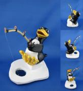 Fishing Ceramics - Fishing Penguin by Bob Dann