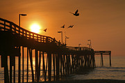 Framed Landscape Framed Prints - Fishing Pier At Sunrise Framed Print by Steven Ainsworth