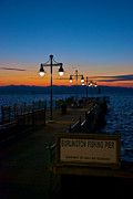Night Lamp Posters - Fishing Pier at Sunset Poster by Mike Horvath