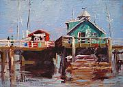 Piers Painting Framed Prints - Fishing Pier Framed Print by Barbara Andolsek