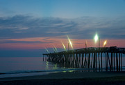 Atlantic Beaches Photo Posters - Fishing Pier Sunrise Poster by John Greim