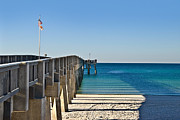 Susan Leggett Prints - Fishing Pier Print by Susan Leggett