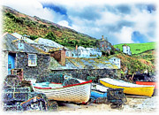 Village Digital Art Originals - Fishing Port by Tom Schmidt
