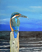 Eric Kempson Painting Prints - Fishing post Kingfisher of Eftalou. Print by Eric Kempson