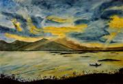 Sun Rays Painting Prints - Fishing Print by Ramon Martinez sanmarti