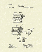 Patent Drawing Framed Prints - Fishing Reel 1885 Patent Art Framed Print by Prior Art Design